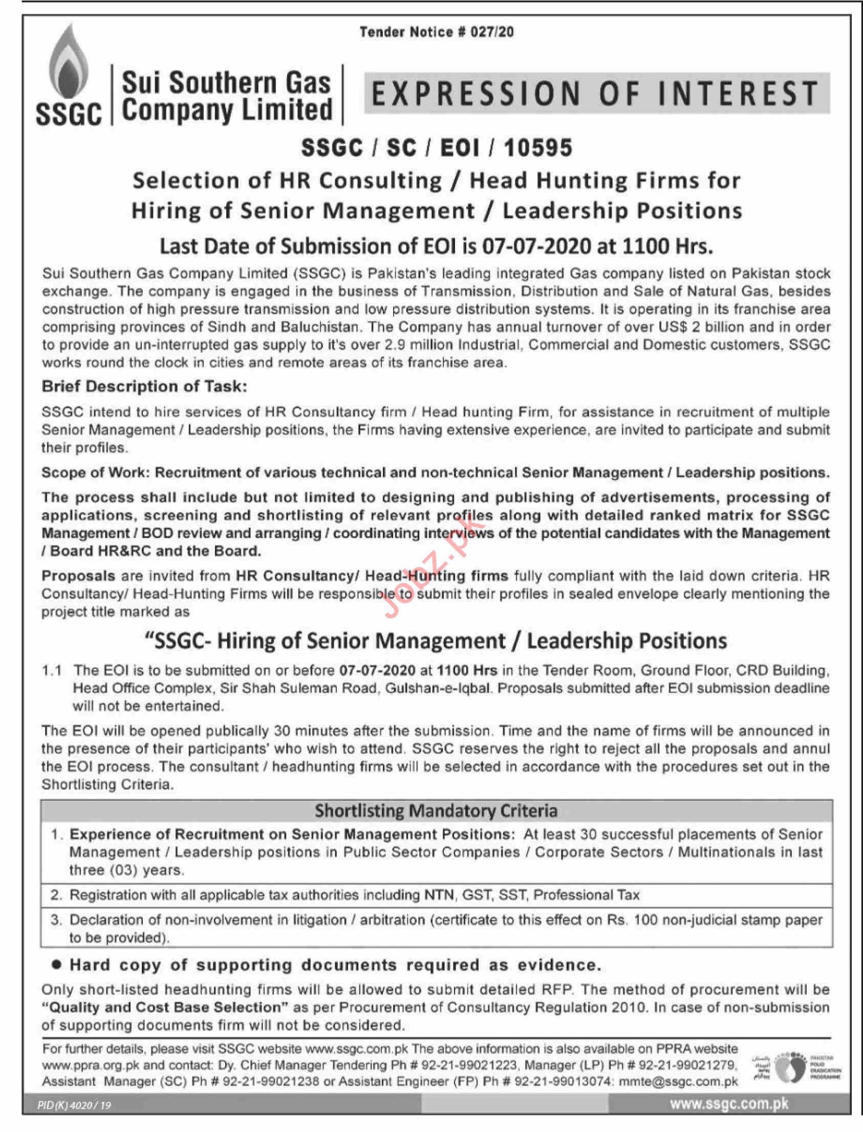 SSGC Karachi Jobs 2020 for HR & Management Consultants