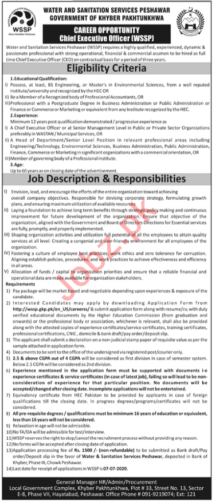 Water & Sanitation Services Peshawar Executive Posts Peshawar