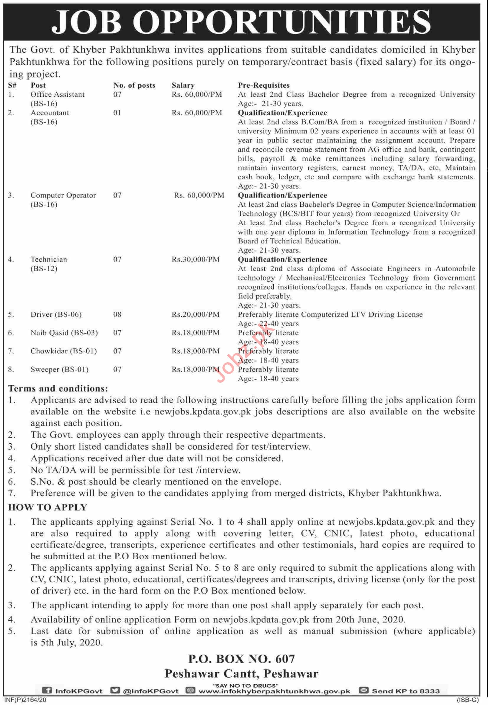 Public Sector Organization Management Posts Peshawar