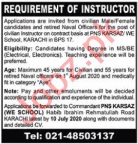 Weapon Engineering WE School PNS Karsaz Jobs 2020