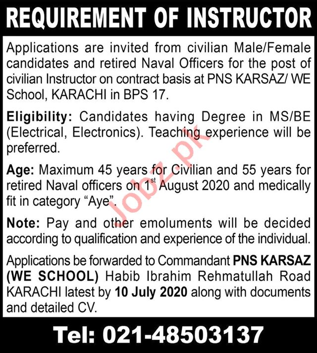 PNS Karsaz Weapon Engineering WE School Karachi Jobs 2020