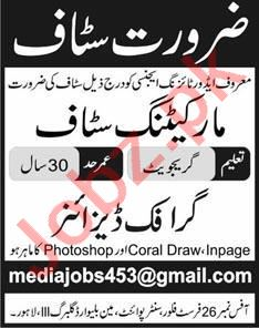 Marketing Staff & Graphic Designer Jobs 2020 in Lahore
