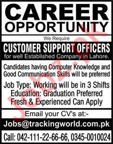 Customer Support Officers Jobs 2020 in Lahore