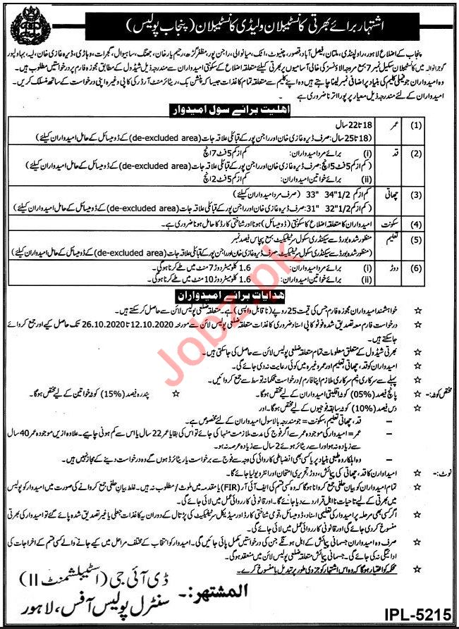 Punjab Police Jobs 2020 for Constables & Lady Constables