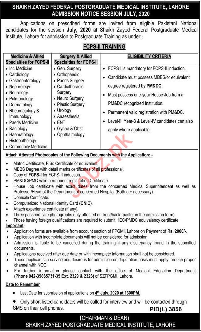 Shaikh Zayed Postgraduate Medical Institute Medical Posts Lahore