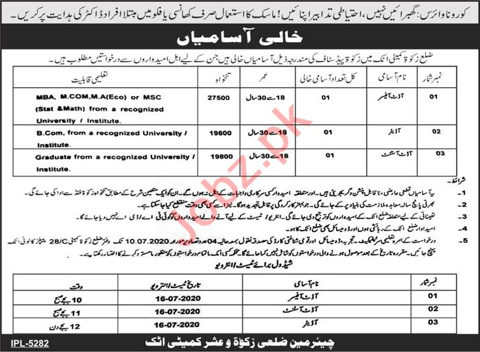 Zakat Committee Attock Jobs 2020 for Audit Officer & Auditor