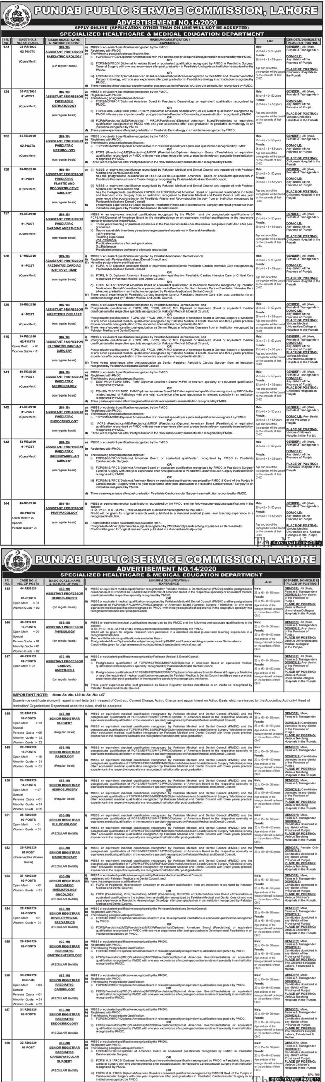 PPSC Medical Posts Lahore
