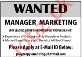 Manager Marketing Jobs 2020 in Karachi