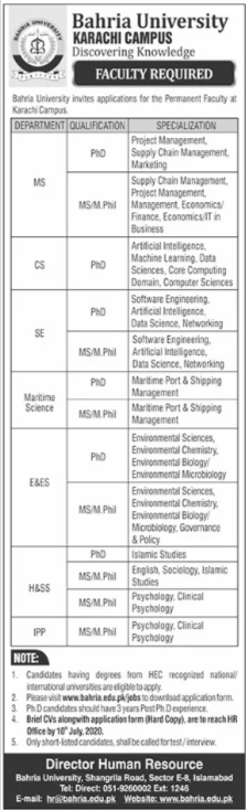 Bahria University Karachi Campus Jobs For Faculty Staff