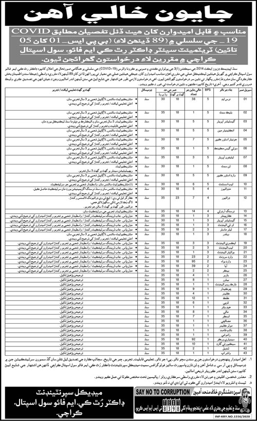 Civil Hospital Jobs For Medical & Technical Staff in Karachi