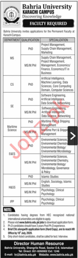 Bahria University Karachi Campus BUKC Jobs 2020