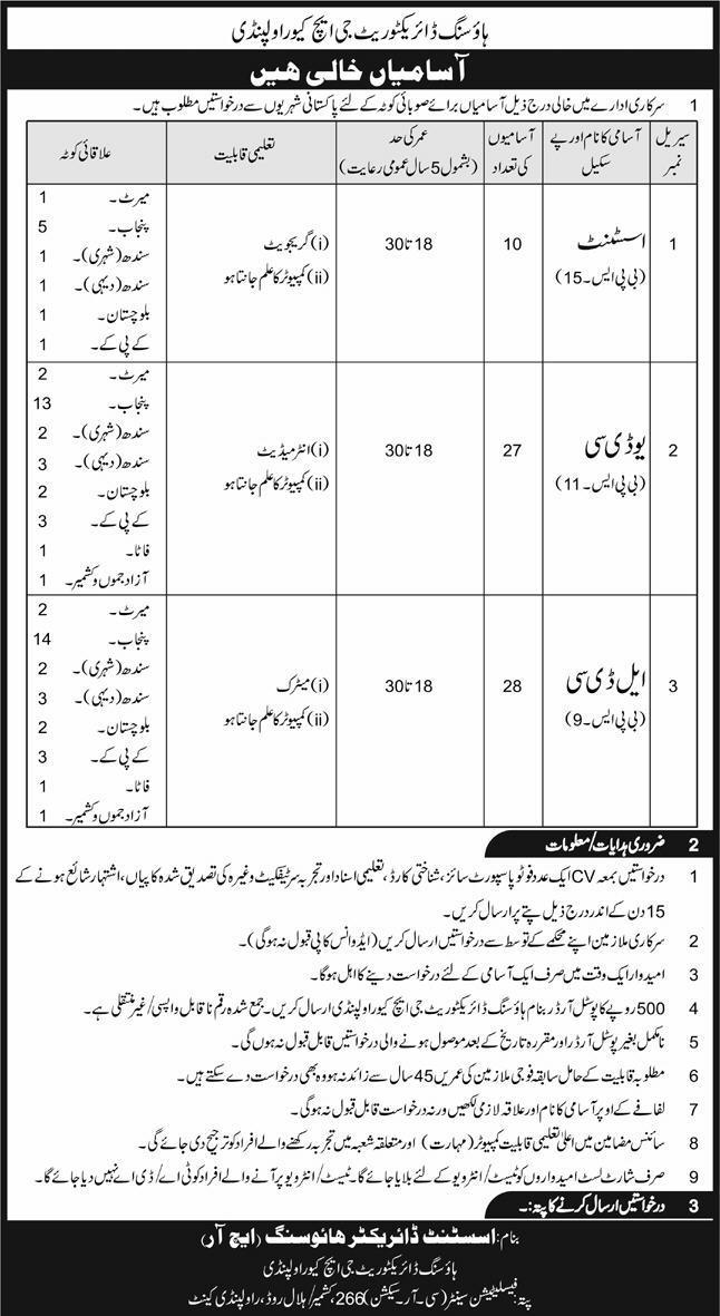 Housing Directorate GHQ Rawalpindi Cantt Jobs 2020