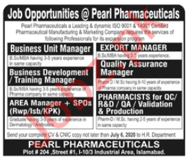 Export Manager & QA Manager Jobs in Pearl Pharmaceutical