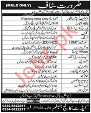 Cadet College Jhelum Jobs 2020 for HR Officer & Nurse
