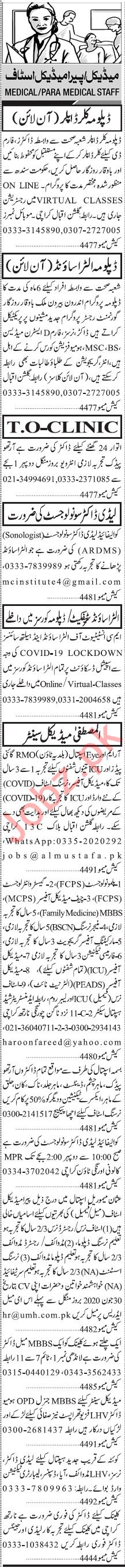 Jang Sunday Classified Ads 28 June 2020 for Medical Staff
