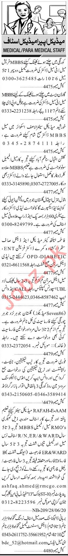 Jang Sunday Classified Ads 28 June 2020 Paramedical Staff