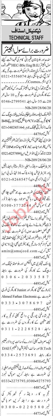Jang Sunday Classified Ads 28 June 2020 for Engineering