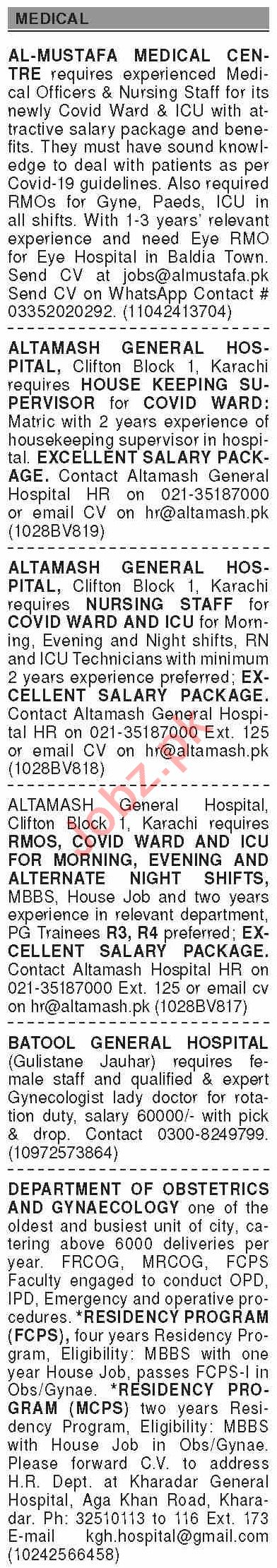 Dawn Sunday Classified Ads 28 June 2020 for Medical Staff