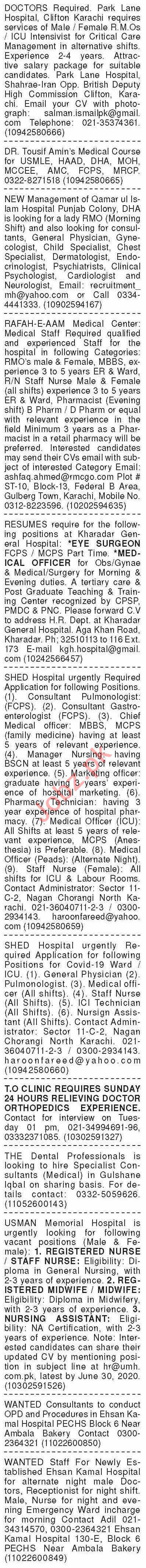 Dawn Sunday Classified Ads 28 June 2020 Paramedical Staff