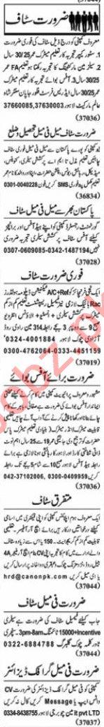 Nawaiwaqt Sunday Classified Ads 28 June 2020 Office Staff