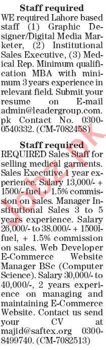 The News Sunday Classified Ads 28 June 2020 for Sales Staff