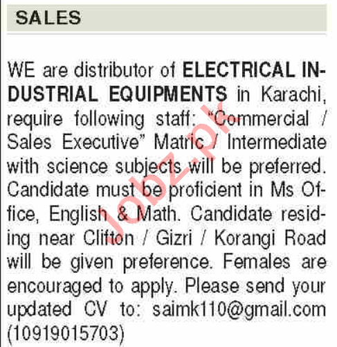 Sales Executive & Commercial Executive Jobs 2020 in Karachi