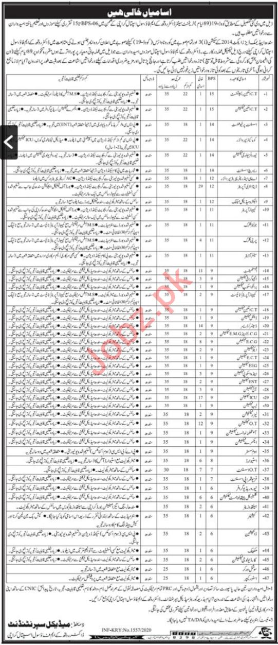 Dr Ruth Pfau Civil Hospital Karachi Jobs 2020 for Technician