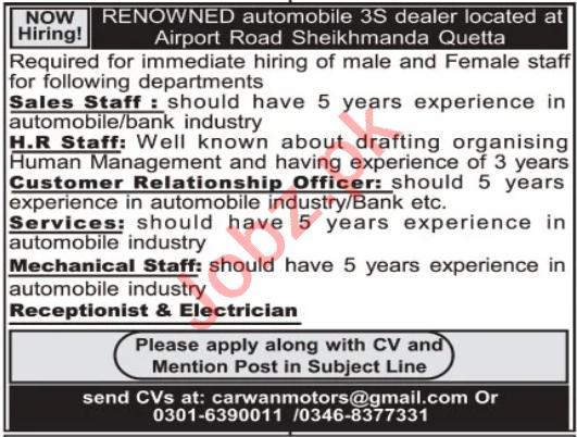 Toyota Motors Quetta Jobs 2020 for Manager & Receptionist