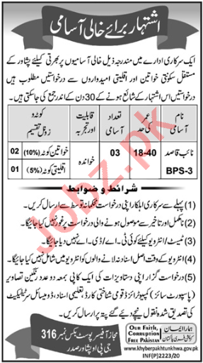 Latest Public Sector Organization Labor Posts Peshawar