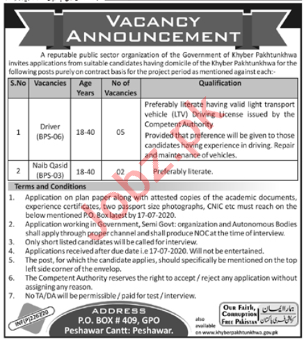 Public Sector Organization Driving Posts Peshawar
