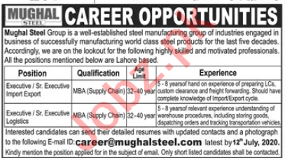 Mughal Steel Lahore Jobs 2020 for Import & Export Executive
