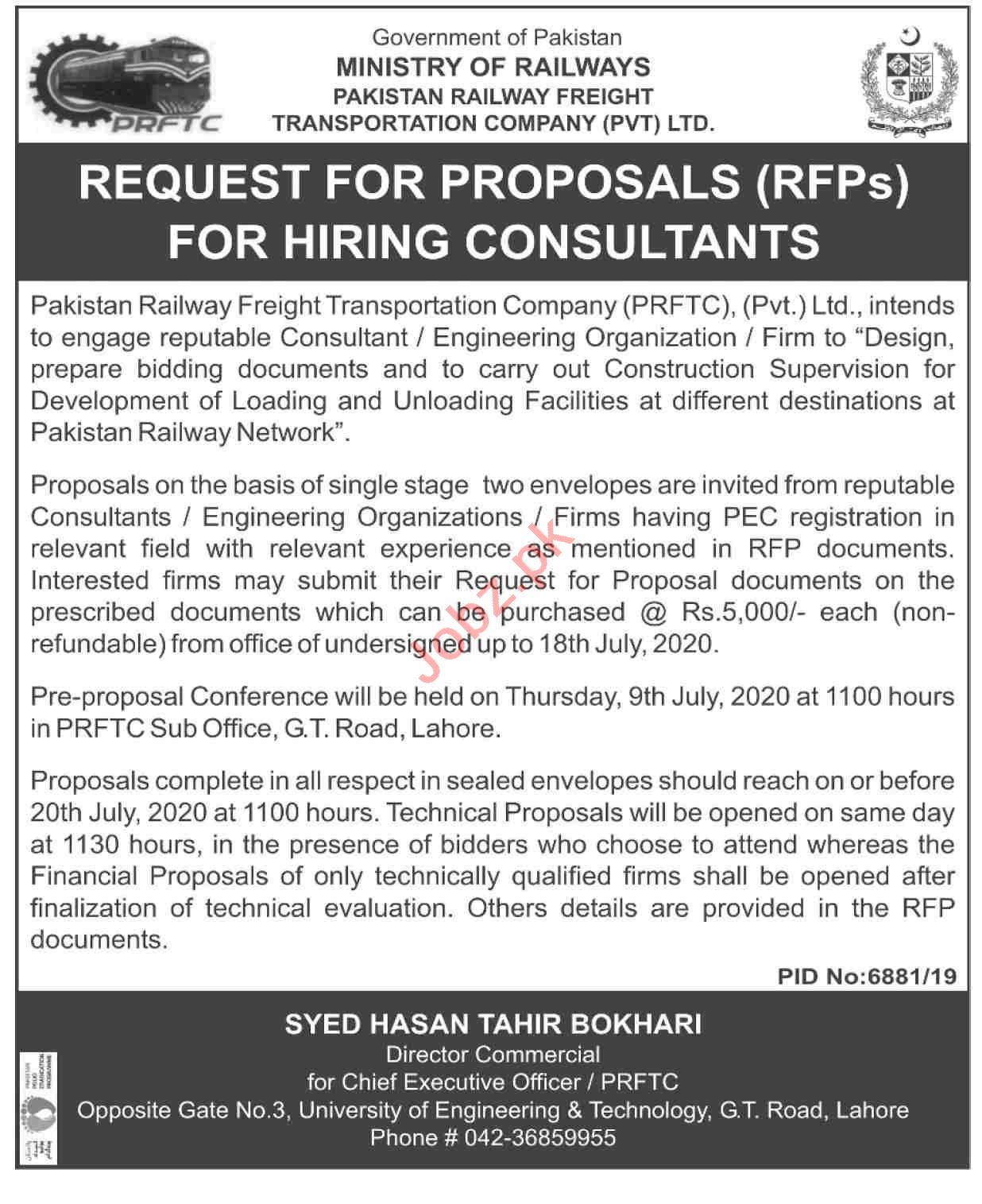 Latest Pakistan Railways Consultant Posts Lahore