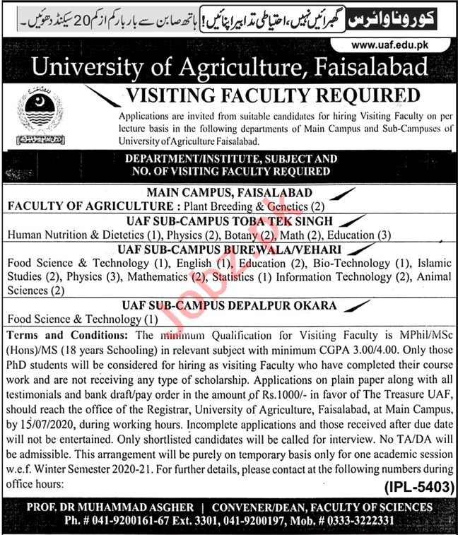 University of Agriculture UAF Jobs 2020 for Visiting Faculty