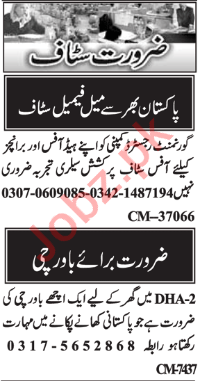 Sales Officer & Cook Jobs 2020 in Islamabad