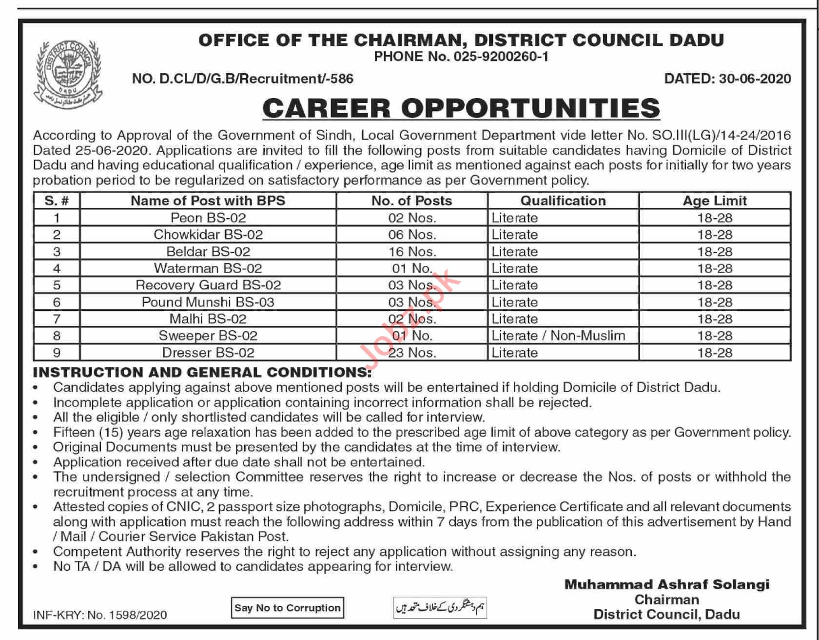 District Council Dadu Jobs 2020 for Dresser & Beldar