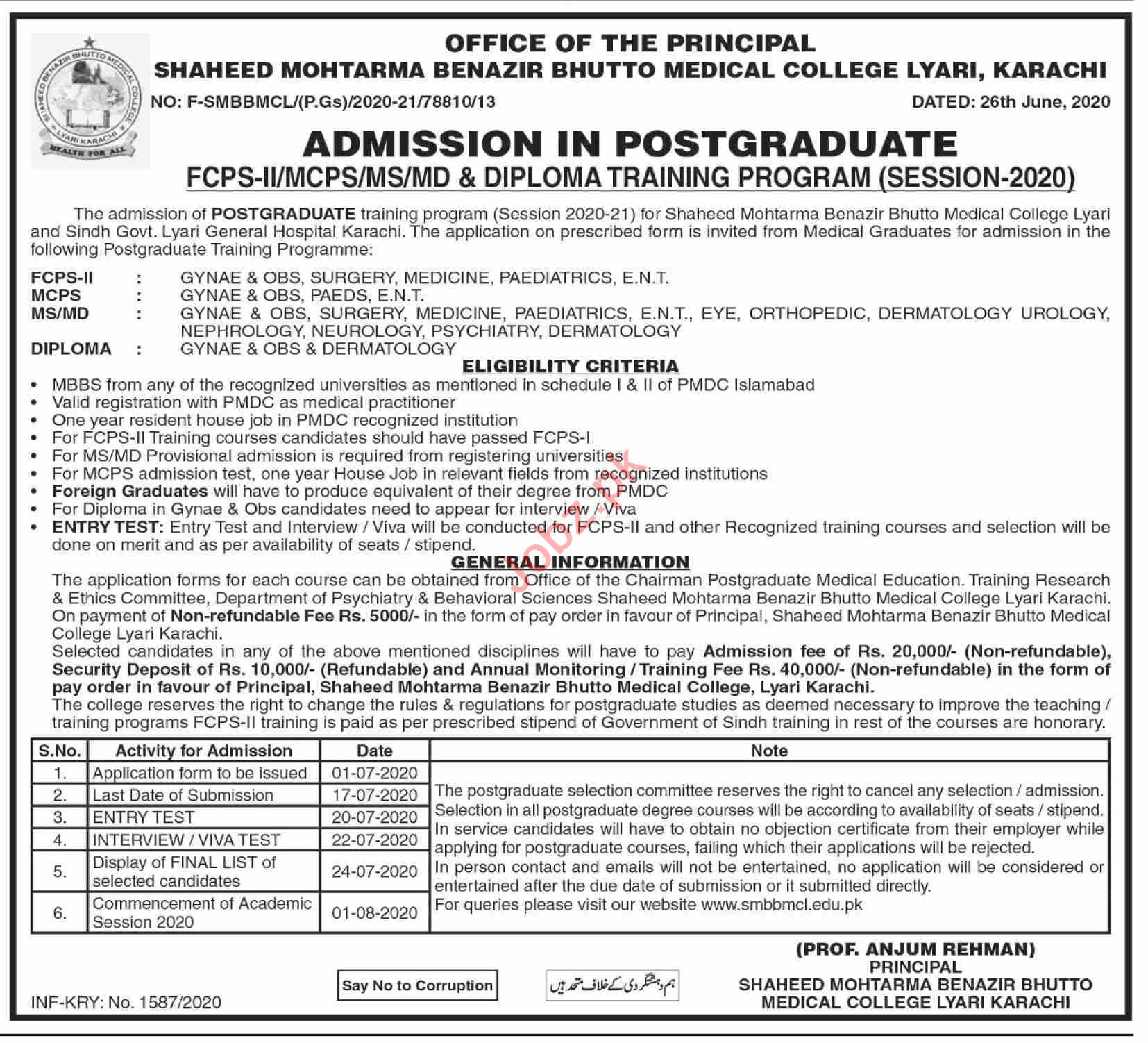 Shaheed Mohtarma Benazir Bhutto Medical College Medical Posts Karachi