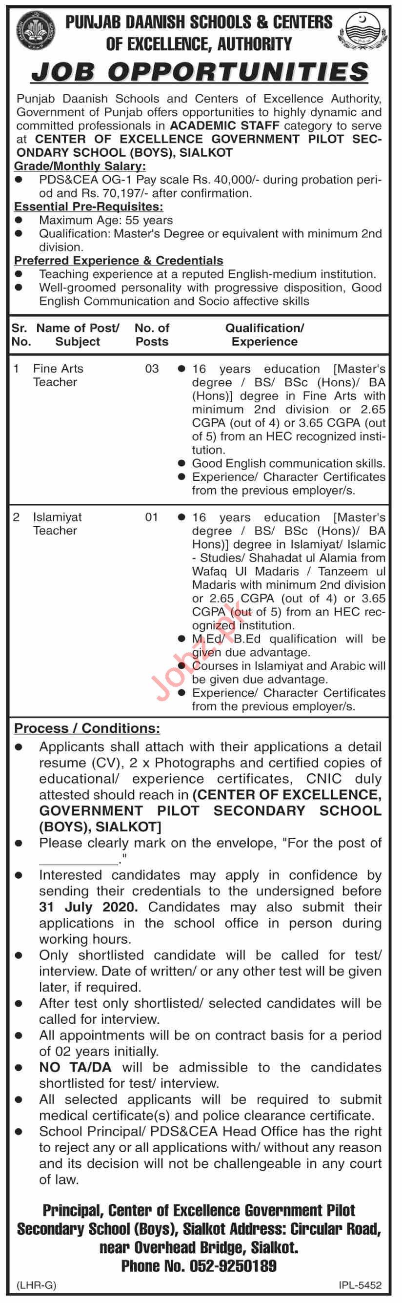 Punjab Daanish Schools Pilot Secondary School Boys Jobs 2020