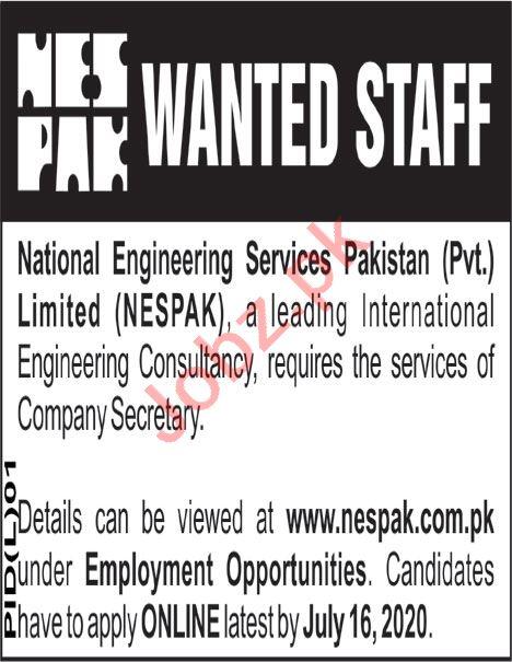 NESPAK Lahore Jobs 2020 for Company Secretary