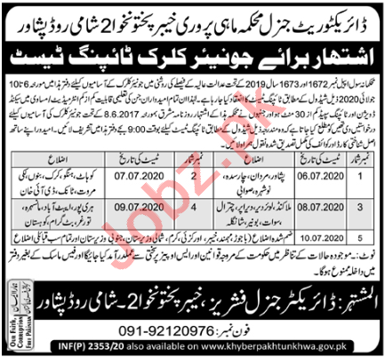 Fisheries Department Admin Clerical Posts Peshawar