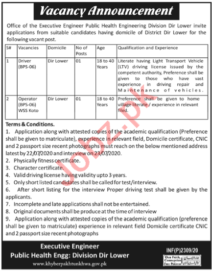 Public Health Engineering Division PHED Dir Lower Jobs 2020