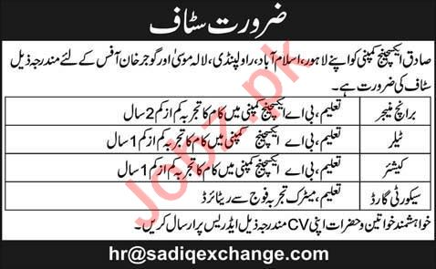 Branch Manager & Cashier Jobs 2020 in Lahore