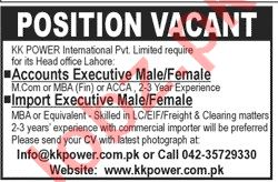 Accounts Executive & Import Executive Jobs 2020 in Lahore