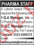 QA Manager & QC Manager Jobs 2020 in Lahore