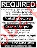 Marketing Executive & Graphic Designer Jobs 2020 in Lahore