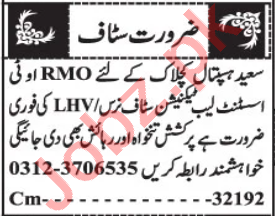 Resident Medical Officer & Staff Nurse Jobs 2020 in Quetta