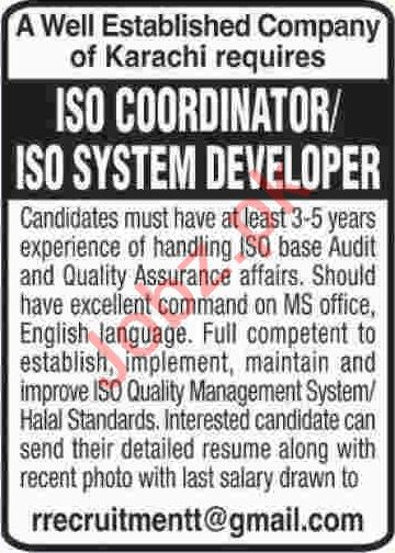 ISO Coordinator & ISO System Developer Jobs 2020 in Karachi