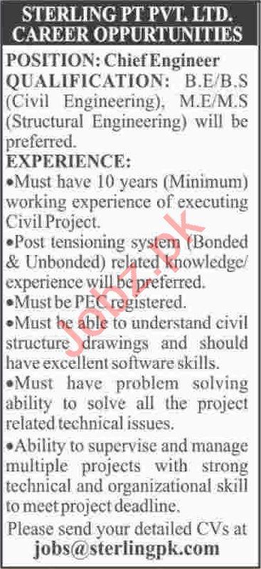 Chief Engineer & Civil Engineer Jobs 2020 in Karachi