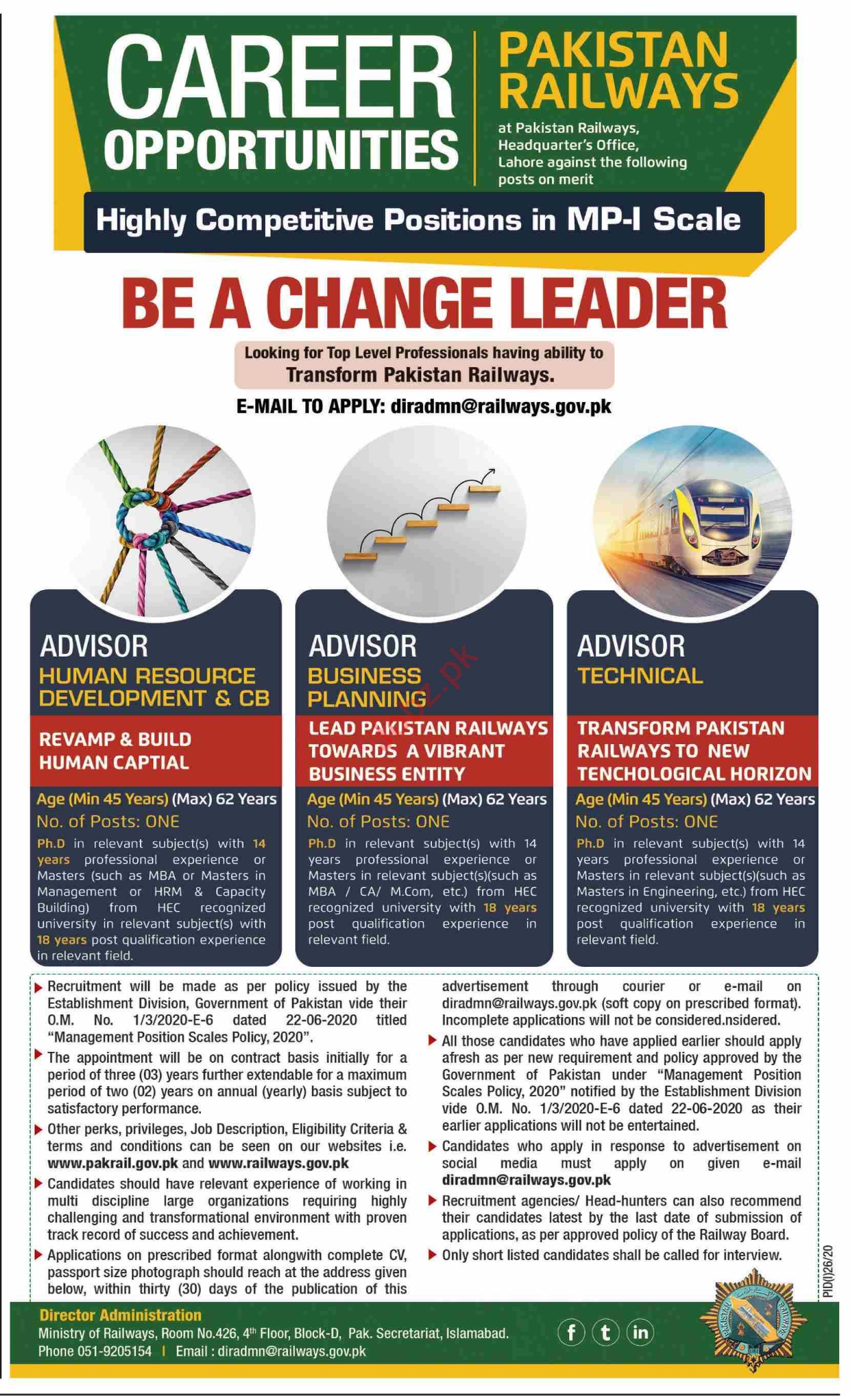 Pakistan Railways Jobs 2020 for Advisor Business Planning