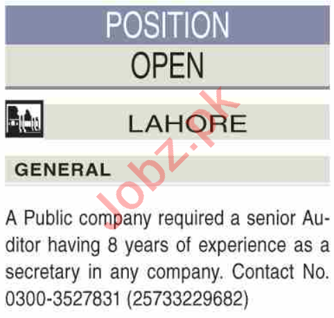 Senior Auditor & Accountant Jobs 2020 in Lahore