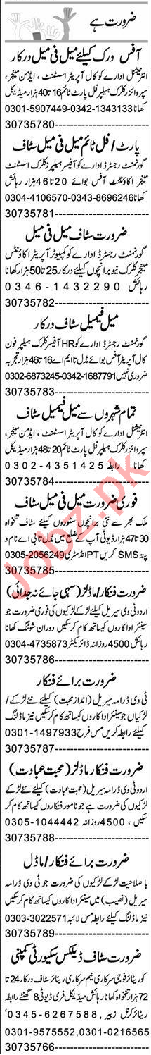 Call Operator Assistant & Admin Manager Jobs 2020